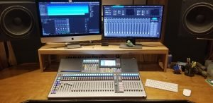 control room desk in recording studio